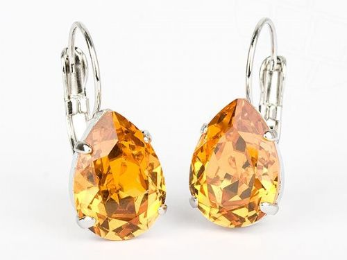 Pierced Earrings with Swarovski Crystals Topaz